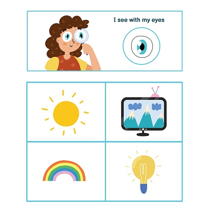 Five senses poster. Sight sense presentation page for kids. Great for activity book