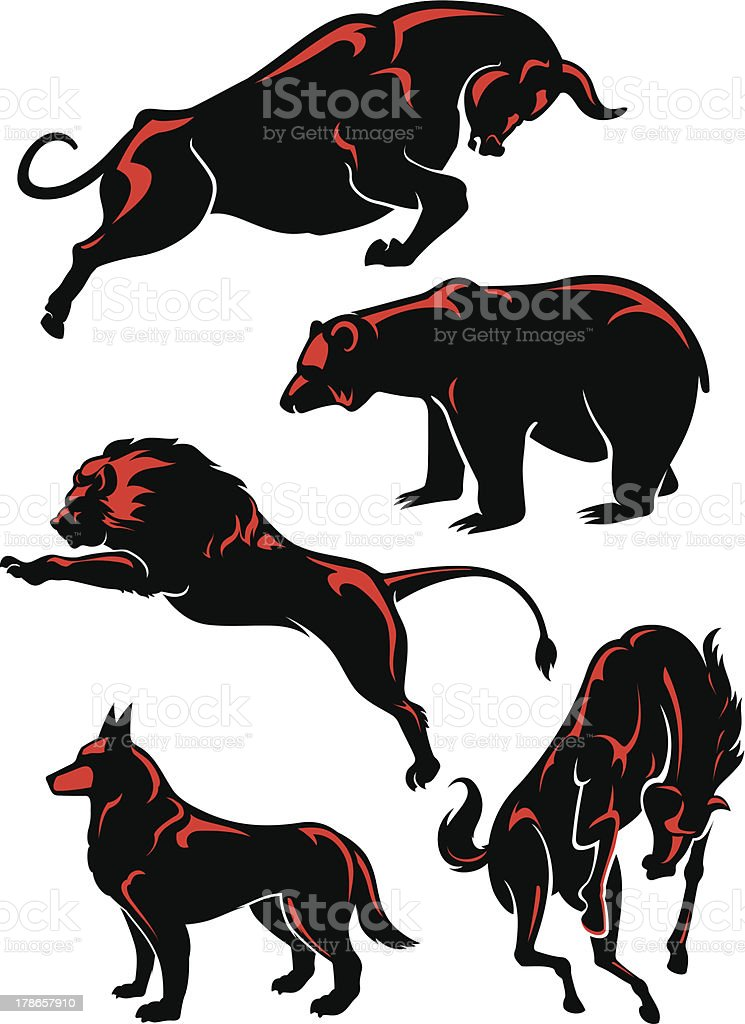 Five silhouettes of wild animals with red highlights royalty-free stock vector art