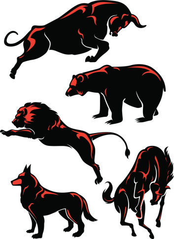 Five silhouettes of wild animals with red highlights