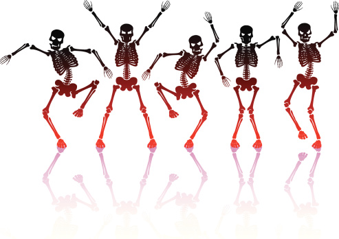 Five skeletons doing a silly dance