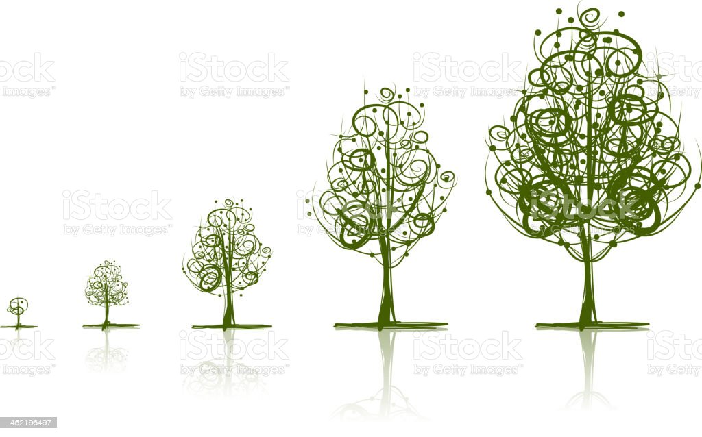 Five stages of growth shown through abstract trees vector art illustration