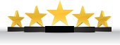 A vector illustration of five gold star awards. This illustration contains a transparencies and blends. Therefore the file is am Illustrator EPS 10 file. The file has been set up using CMYK colours and no spot colours.