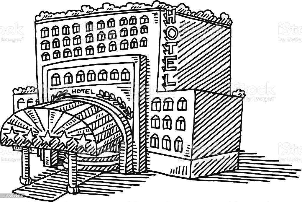 Hotel de cinco estrellas edificio ilustración - ilustración de arte vectorial