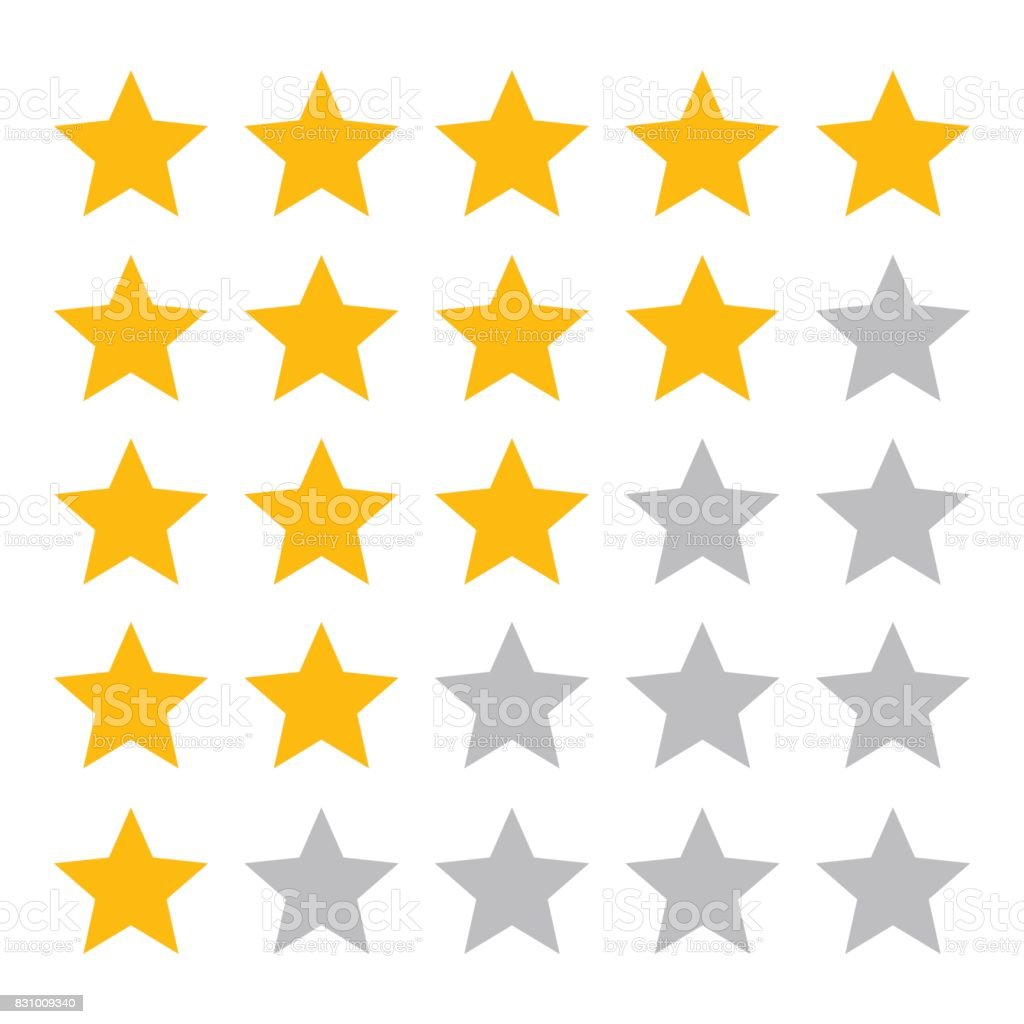 Five star ranking icons vector art illustration