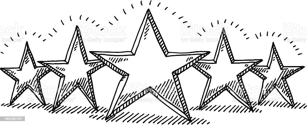 Five Star Rating Drawing vector art illustration
