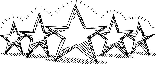 Five Star Rating Drawing Hand-drawn vector drawing of a Five Star Rating. Black-and-White sketch on a transparent background (.eps-file). Included files are EPS (v10) and Hi-Res JPG. transportation stock illustrations