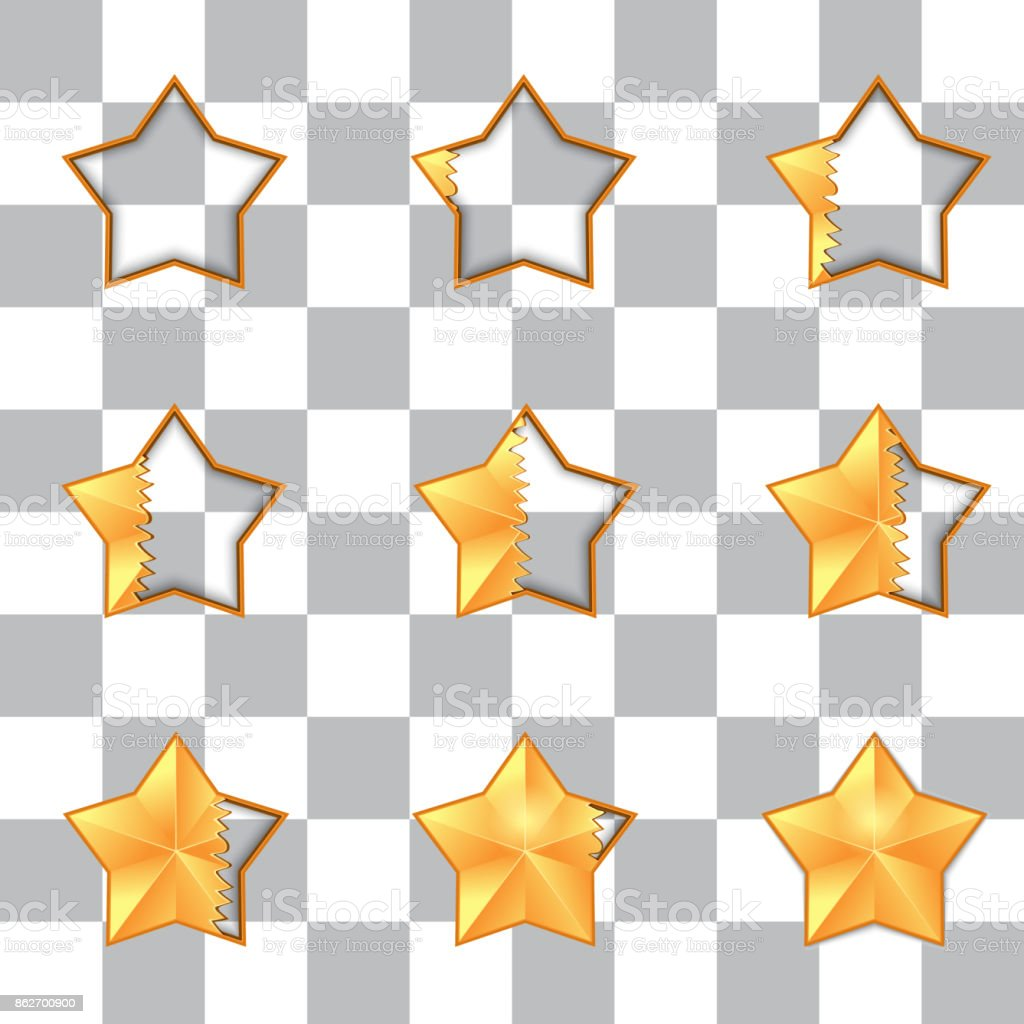Five star rating. filling volume vector art illustration
