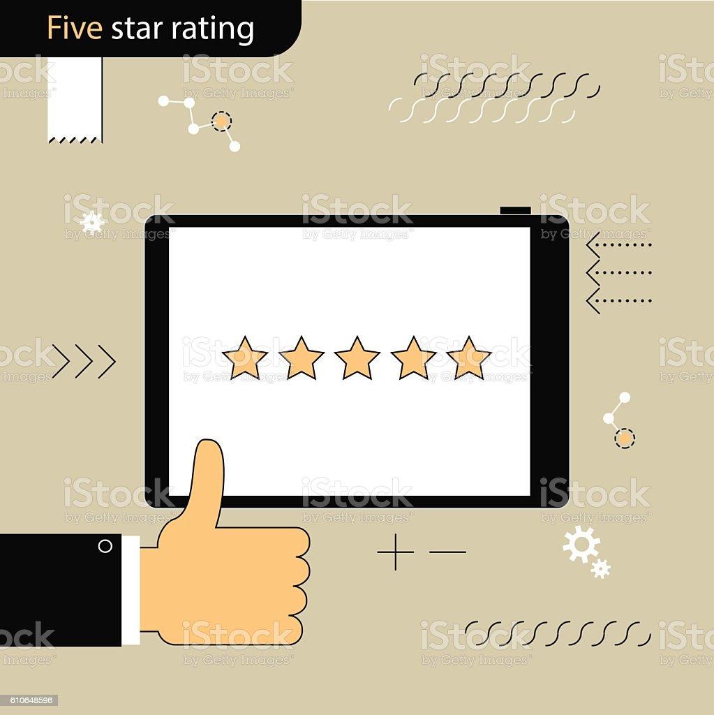 Five Star rating. Gesture of approval rating. Linear flat design - Illustration vectorielle