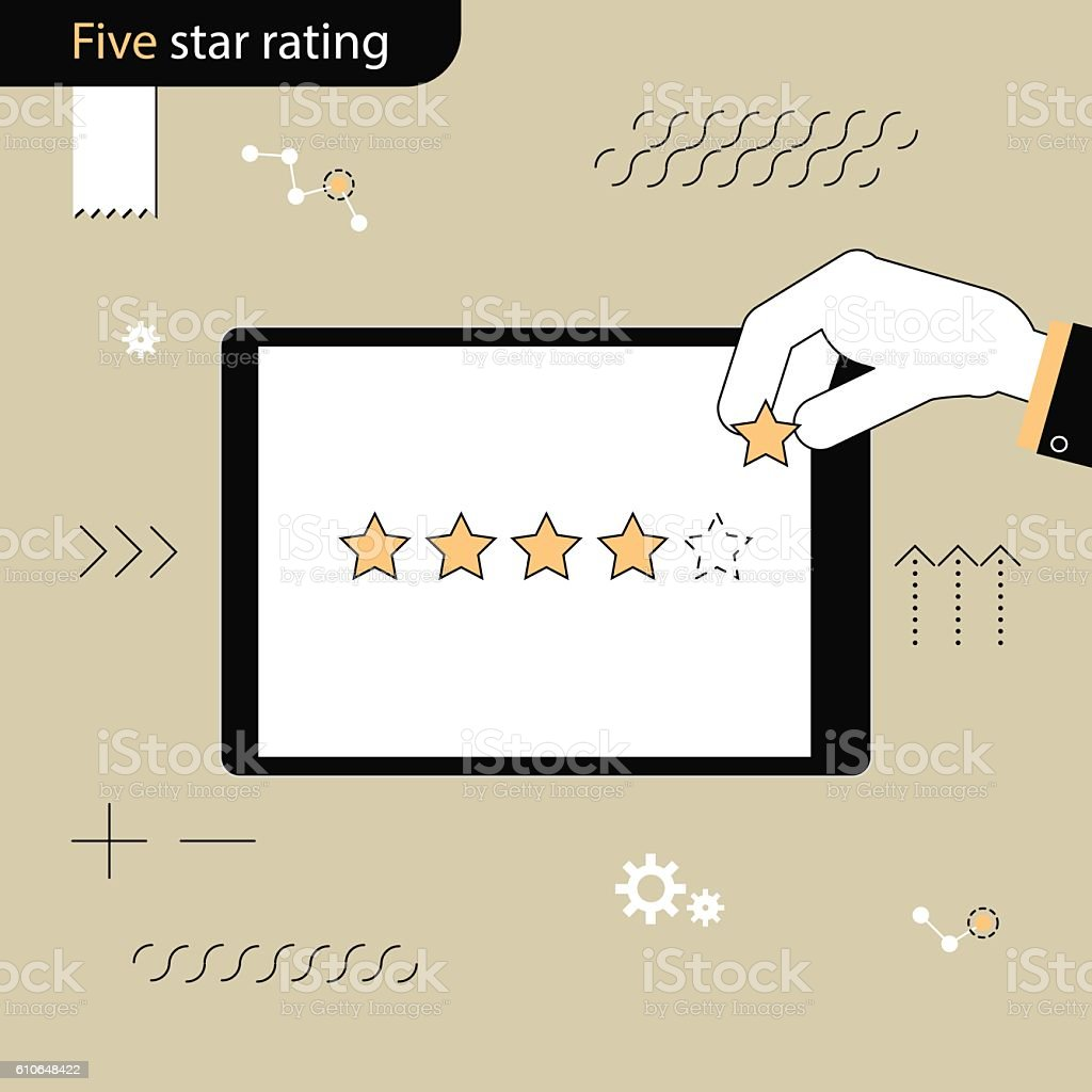 Five Star rating. Hand adds a fifth star in rating. - Illustration vectorielle