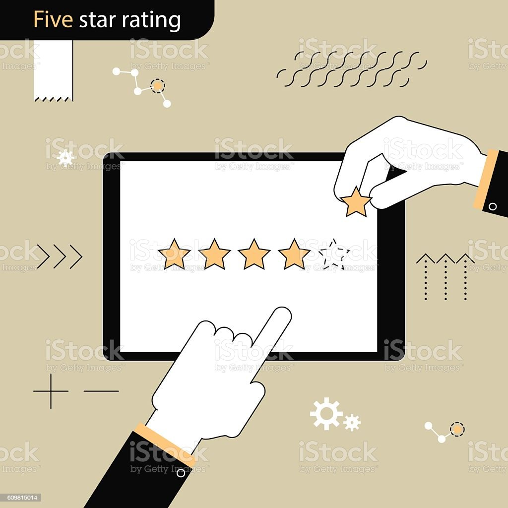 Five Star rating. Hand adds a fifth star Linear flat - Illustration vectorielle