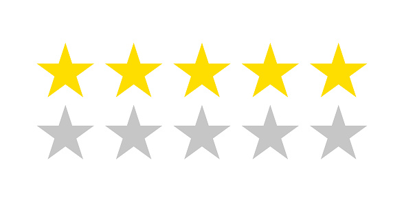 Five star rating icon. Flat icon with golden five stars rating on white background. Flat vector icon. Isolated vector. Vector chart. Vector design. Customer review rating. Customer choice.