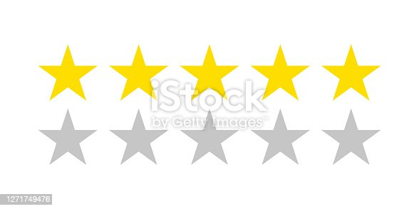 istock Five star rating icon. Flat icon with golden five stars rating on white background. Flat vector icon. Isolated vector. Vector chart. Vector design. Customer review rating. Customer choice. 1271749476