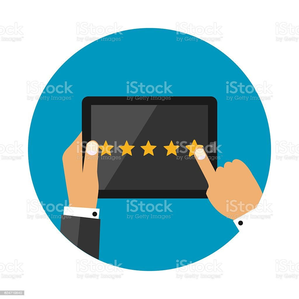 Five Star Rating on Dark Tablet Screen With Hands vector art illustration