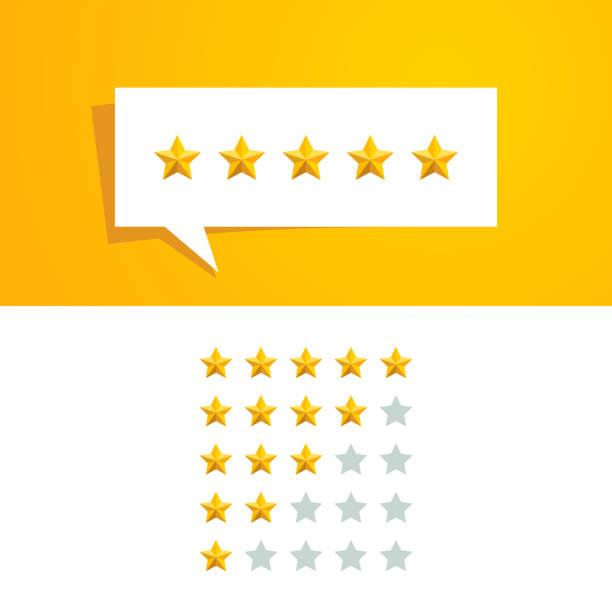 5 пять звезд рейтинг обзор вектор дизайн шаблон - evaluation stock illustrations