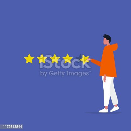 Five star rating. Young male character rates a service. Ranking. Marketing. Customer feedback. Flat editable vector illustration, clip art