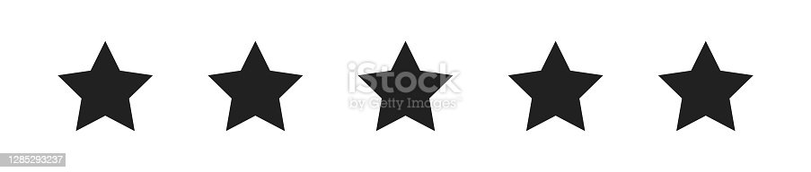 istock Five star set black icon on white background. Isolated vector for rating 1285293237