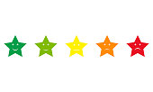 five star shaped feedback buttons, different colors