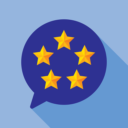 Five Star Speech Bubble Round Icon Flat