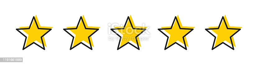 istock Five star yellow color with stroke isolated vector element. Premium quality. Consumer rating flat icon. Flat design. Customer feedback vector. Customer satisfaction. 1191661889