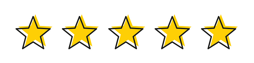 Five star yellow color with stroke isolated vector element. Premium quality. Consumer rating flat icon. Flat design. Customer feedback vector. Customer satisfaction.