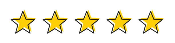 스트로크 격리 벡터 요소와 별 노란색 5 성급. 프리미엄 품질. 소비자 평가 플랫 아이콘입니다. 플랫 디자인. 고객 피드백 벡터입니다. 고객 만족. - evaluation stock illustrations