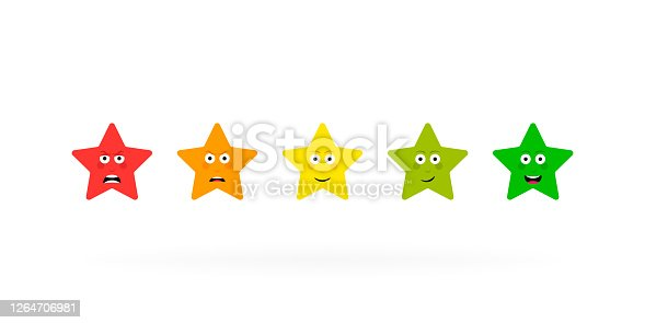 Five stars emotion rating review. Feedback scale. Angry, sad, neutral, satisfied and happy emoticon set. Vector illustration.