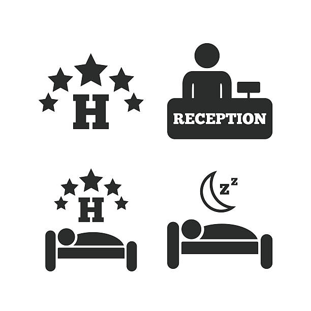 Five Stars Hotel Icons Travel Rest Place Vector Art Illustration