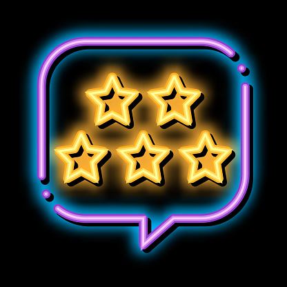 Five Stars In Text Box Frame neon light sign vector. Glowing bright icon transparent symbol illustration