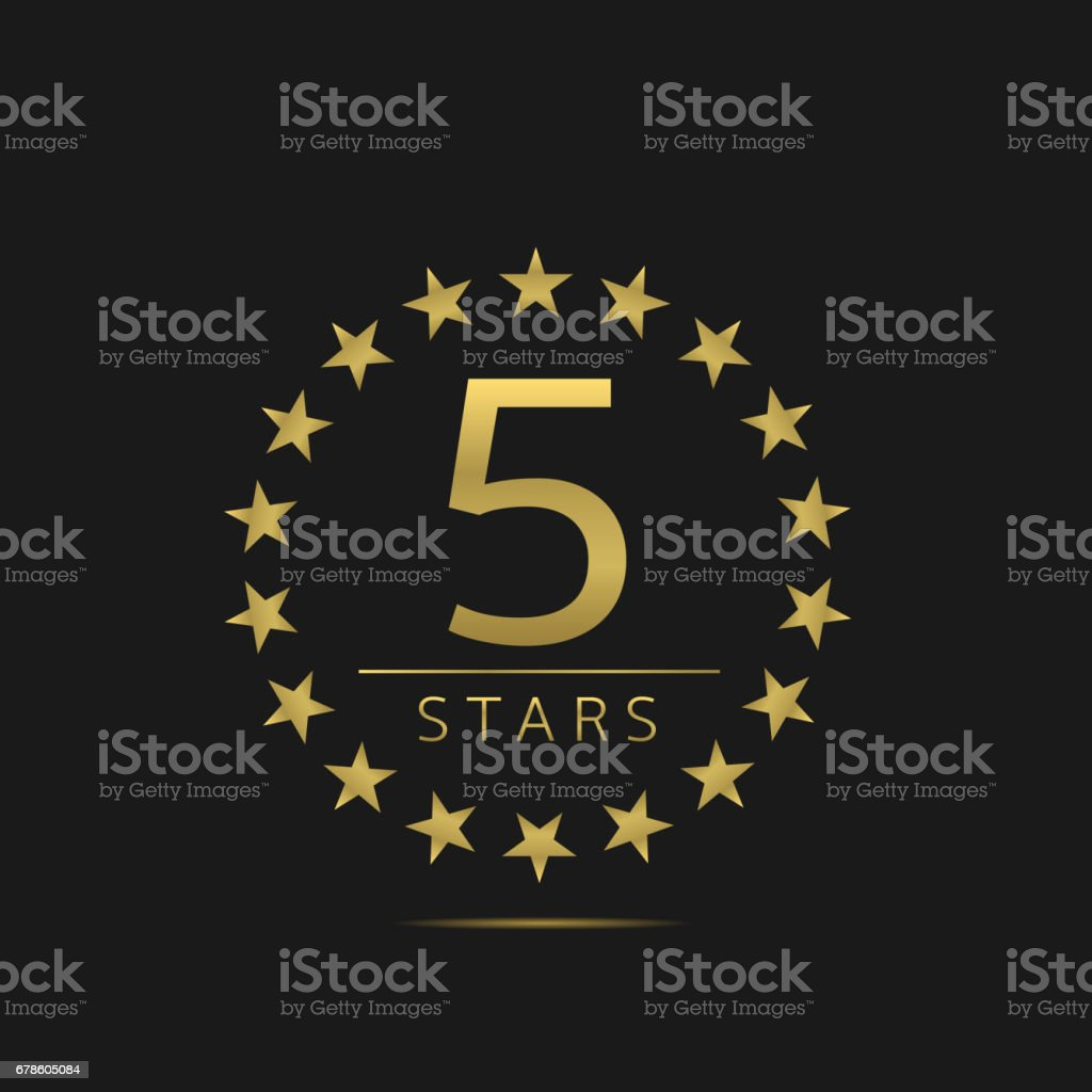 Five stars label vector art illustration