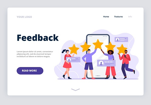 Five stars mobile app feedback. A multiethnic group of people evaluating app, product, service. Landing page template with user experience feedback concept.