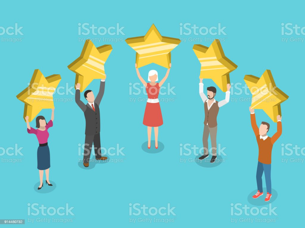 Five stars rating flat isometric vector concept. vector art illustration