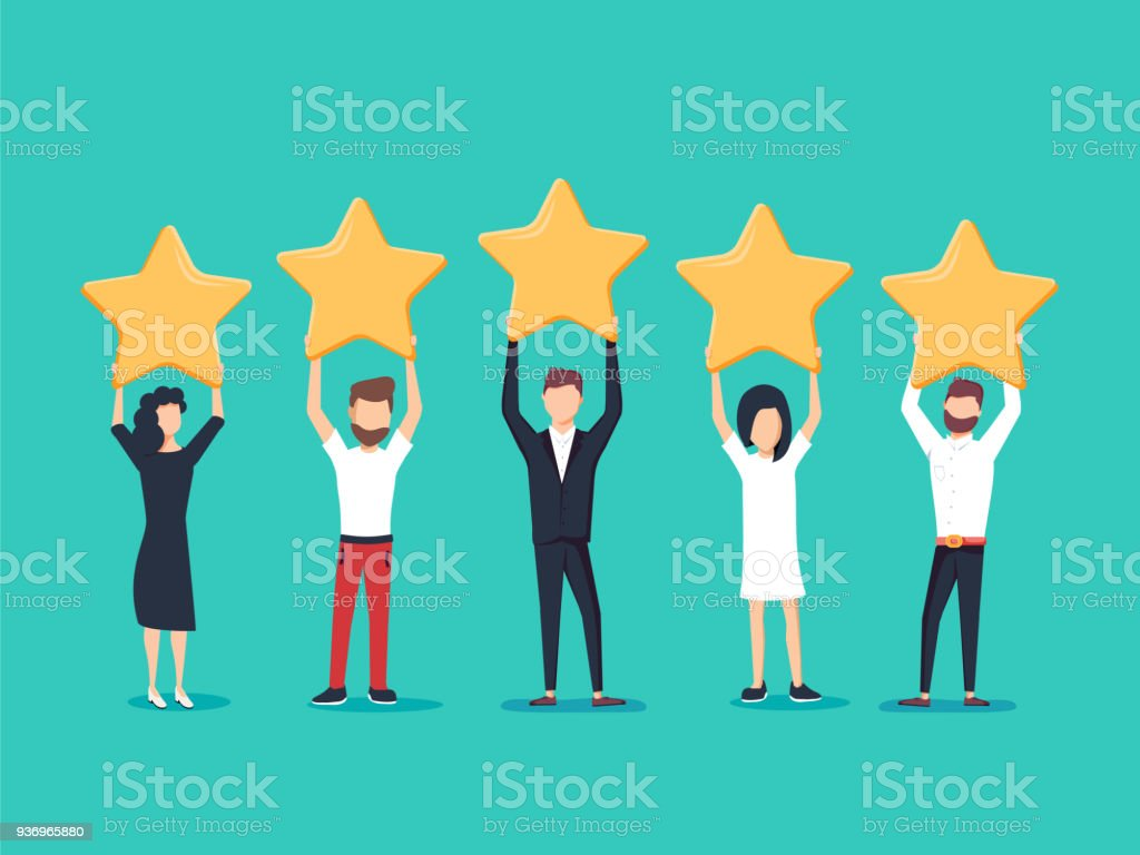 Five stars rating flat style vector concept. People are holding stars over the heads. Feedback consumer vector art illustration
