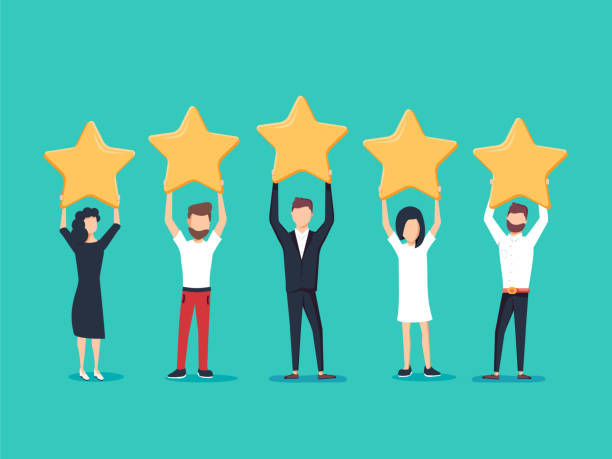 five stars rating flat style vector concept. people are holding stars over the heads. feedback consumer - obsługa stock illustrations