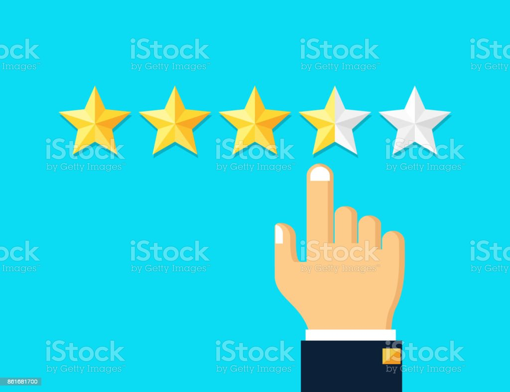 Five stars rating. Hand cursor.Human hand pointing five stars rating. vector art illustration