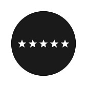 Five stars rating icon flat black round button vector illustration