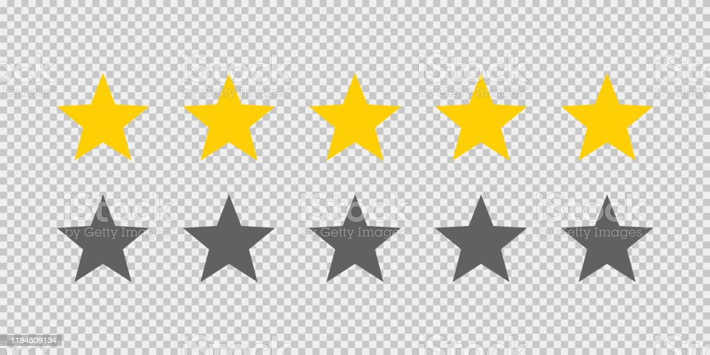 Five Stars Rating Icon On Transparent Background Five Golden Star