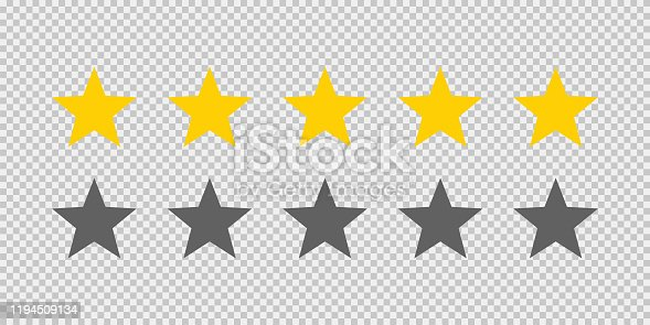 istock Five stars rating icon on transparent background. Five golden star rating illustration vector. Premium quality customer service. Customer feedback ranking system. Feedback concept. 1194509134