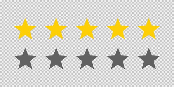 Five stars rating icon on transparent background. Five golden star rating illustration vector. Premium quality customer service. Customer feedback ranking system. Feedback concept.