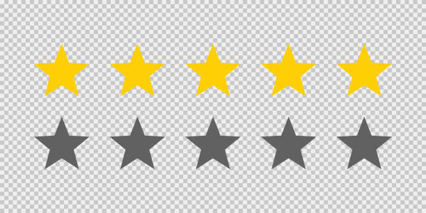 значок рейтинга пяти звезд на прозрачном фоне. пять золотых звезд рейтинг иллюстрации вектор. высокое качество обслуживания клиентов. сист - evaluation stock illustrations