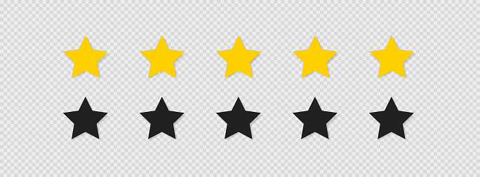 Five stars rating icon set vector icon. Flat isolated button for concept web design on transparent background