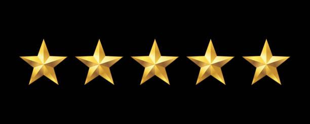 ikona rankingu pięciu gwiazdek. ilustracja wektorowa - kształt gwiazdy stock illustrations