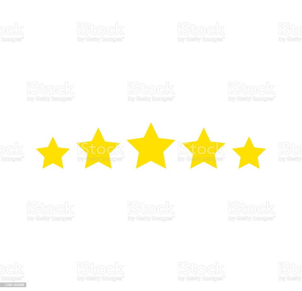 Five stars rating. Star icon. Feedback consumer or customer review...