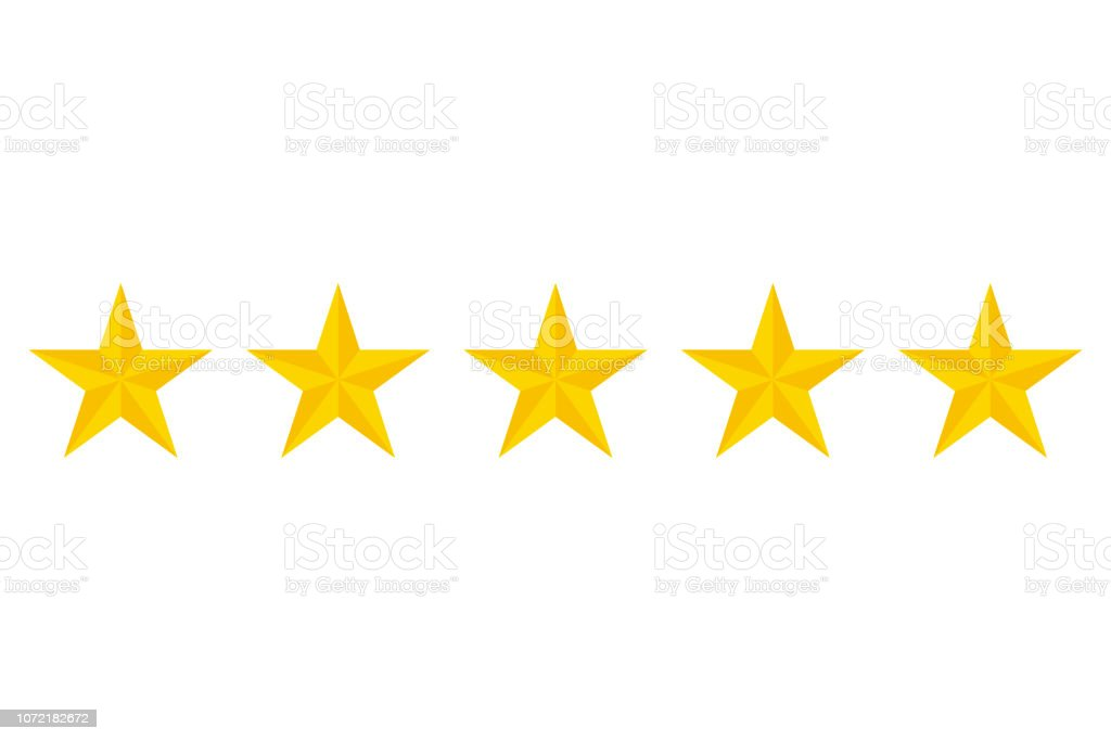 Five stars rating vector icon vector art illustration