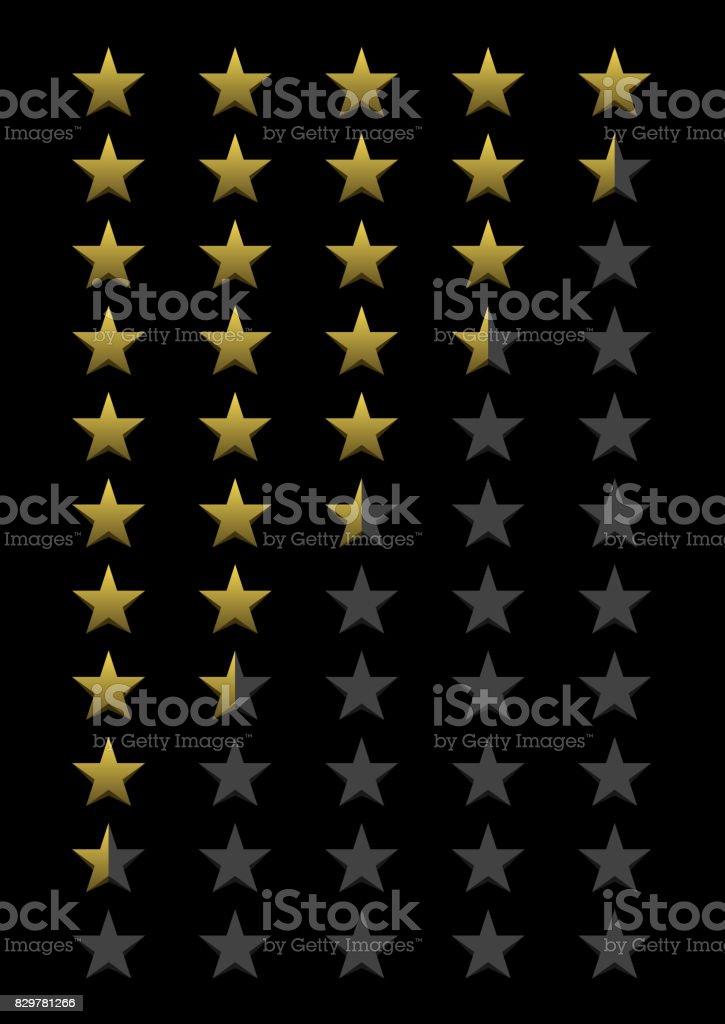 Five stars rating vector art illustration