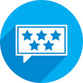 Vector illustration of a blue speech bubble with 5 stars icon in flat style.