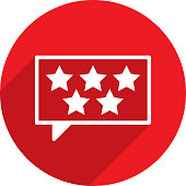 Vector illustration of a red speech bubble with 5 stars icon in flat style.