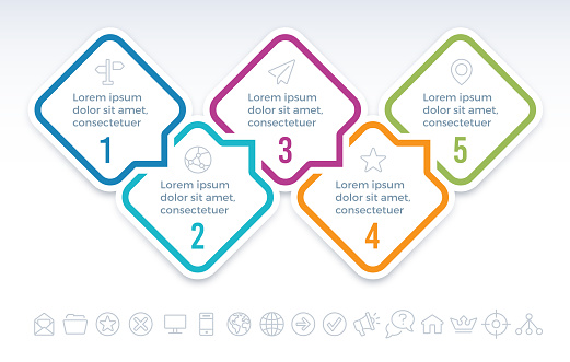 Five Step Communication Infographic Concept