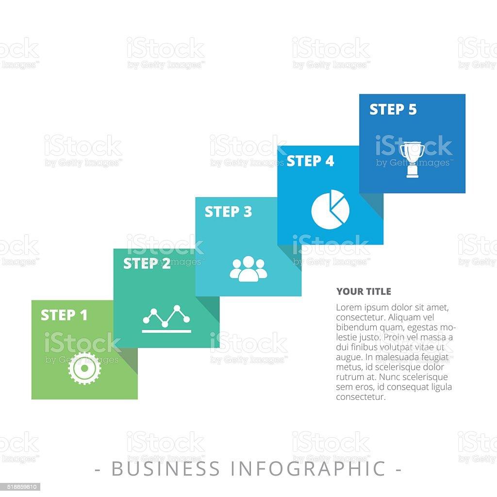 Five Step Diagram Template vector art illustration