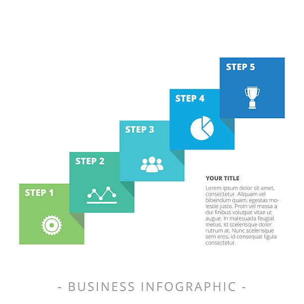 fünf schritten diagramm vorlage - treppe stock-grafiken, -clipart, -cartoons und -symbole