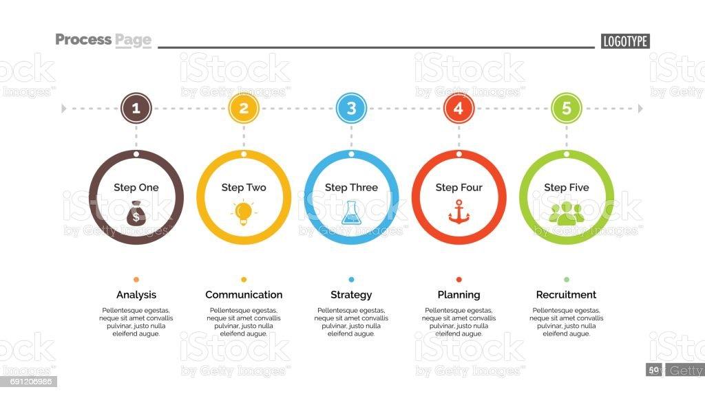 Five Step Process Chart Slide Template vector art illustration